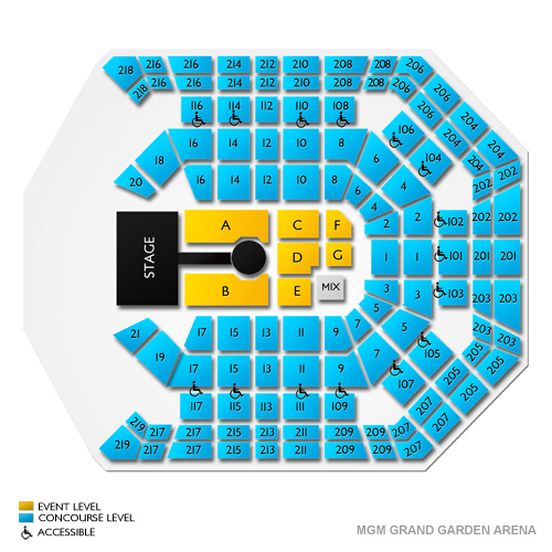 MGM Grand Garden Arena Seating Chart MGM Grand Garden Arena in